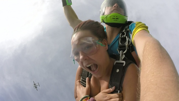 Girl doing a skydive