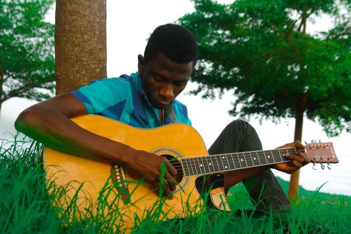 boy plays guitar in grass