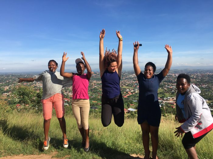 Group of friends hiking in Uganda