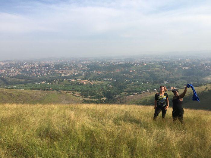 two friends hiking in uganda
